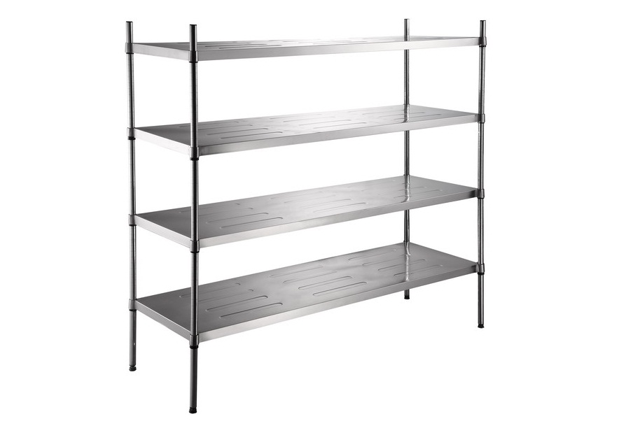 Restaurant Kitchen Shelving stainless steel shelves. ikea grundtal wall shelf saves space on